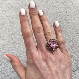 Jewelry - Cocktail pink ring! Size 7 slightly adjustable